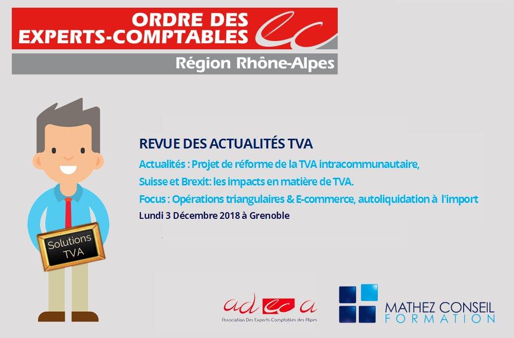 Atelier 'Revue des actualités TVA' avec le CROEC et l'ADECA le 3 décembre à Grenoble